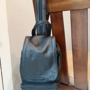 Soft leather small backpack bag purse convertible